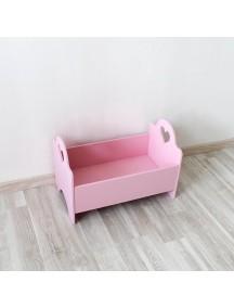 Кроватка для куклы розовая с сердечком ручной работы