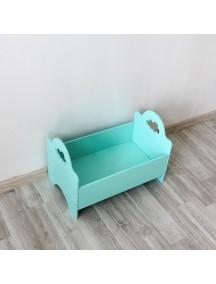 Кроватка для куклы бирюзовая с облачком ручной работы