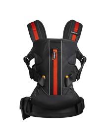 """BabyBjorn """"One Outdoors"""" Многофункциональный рюкзак-кенгуру для ношения ребёнка на груди и на спине, Чёрный с красными вставками"""