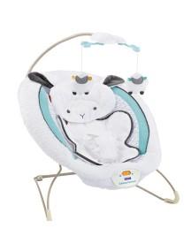 """Fitch Baby """"Delux Bouncer"""" Детское кресло-качалка с игрушками и вибрацией , Белое с голубым - Овечка"""