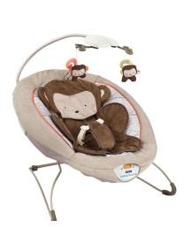 """Fitch Baby """"Delux Bouncer"""" Детское кресло-качалка с игрушками и вибрацией , Коричневое - Обезьянка"""