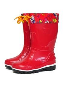 Детские резиновые сапоги Nordman Kids, красные  (с разноцветной манжетой)