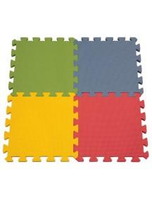 """Funkids """"Симпл-12"""" Игровой коврик-пазлы 12"""" без изображений толщина 15 мм (набор из 4 частей) , Зелёный/Синий/Желтый/Красный"""