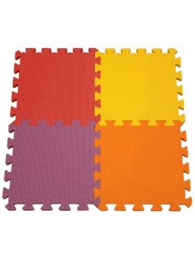 """Funkids """"Симпл-12"""" Игровой коврик-пазлы 12"""" без изображений толщина 15 мм (набор из 4 частей) ,Красный/Желтый/Сиреневый/Орандж"""