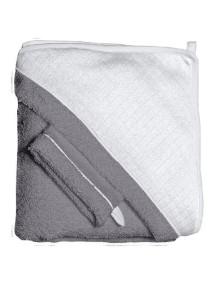 """Red Castle """"Hooded Towel"""" Махровое полотенце с уголком и варежка для купания / Grey-White"""