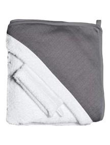 """Red Castle """"Hooded Towel"""" Махровое полотенце с уголком и варежка для купания / White-Grey"""