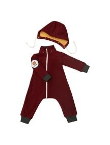 """Флисовый комбинезон на молнии """"Бордовый"""" (Бамбинизон) с раздельным капюшоном на кнопках"""