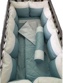 """Комплект детского постельного белья MARELE """"Бело-голубая классика"""" 19 предметов для прямоугольной кроватки"""