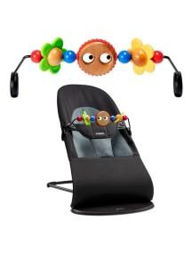 """Детское кресло-шезлонг """"Balance Soft Air"""" от BabyBjorn ) с игрушкой. Черный - темно-серый"""