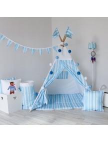 Вигвам ручной работы для детей Голубые полоски, Blue Stripes