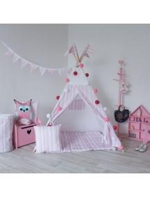 Вигвам ручной работы для детей Розовые полоски, Pink Stripes