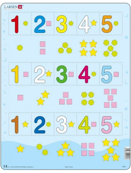 Пазл Цифры 1-5 (15 деталей) LARSEN/Ларсен