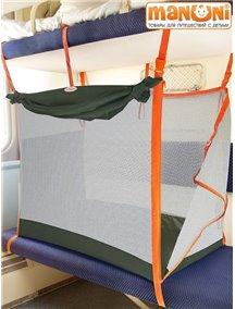ЖД-манеж в поезд для детей Manuni от 0 до 3 лет хаки с белой сеткой (4 стенки + шторка)