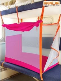 ЖД-манеж в поезд для детей Manuni от 0 до 3 лет розовый с белой сеткой (4 стенки + шторка)