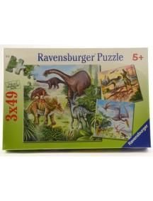 Пазл Динозавры (3*49 деталей) Ravensburger/Равенсбургер