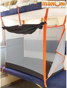 ЖД-манеж в поезд для детей Manuni от 0 до 3 лет коричневый с белой сеткой (4 стенки + шторка)