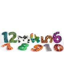 Счастливые Цифры 12 цифр, 10 фигурок и арифметических знаков,1 сортер-трафарет для цифр, книжка-раскраска