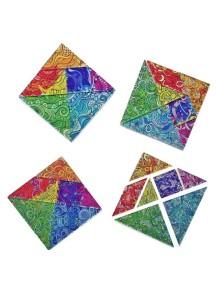 Счастливый Танграм Квадрат (4 квадрата (28 деталей) + 1 буклет)
