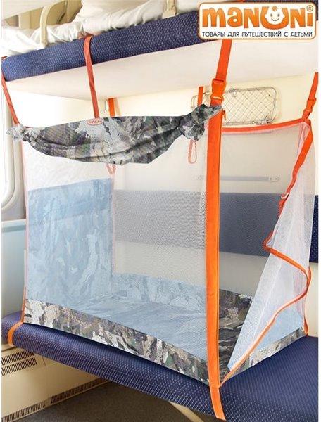 ЖД-манеж в поезд для детей Manuni от 0 до 3 лет камуфляж-хаки  (4 стенки + шторка)