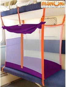 ЖД-манеж в поезд для детей Manuni от 3 лет фиолетовый с белой сеткой (3 стенки +шторка)
