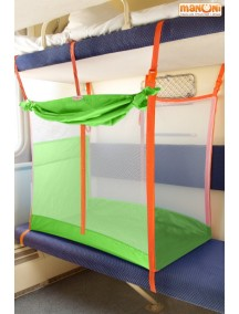 ЖД-манеж в поезд для детей Manuni от 3 лет зеленый с белой сеткой (3 стенки +шторка)