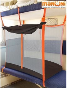 ЖД-манеж в поезд для детей Manuni от 3 лет шоколадный с белой сеткой (3 стенки +шторка)