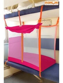 ЖД-манеж в поезд для детей Manuni от 3 лет розовый с белой сеткой (3 стенки +шторка)