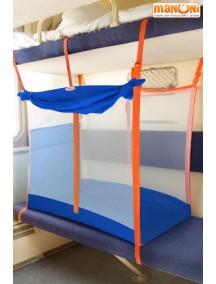 ЖД-манеж в поезд для детей Manuni от 3 лет василек с белой сеткой (3 стенки +шторка)
