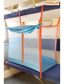 ЖД-манеж в поезд для детей Manuni от 3 лет голубой (3 стенки +шторка)