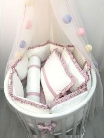 """MARELE Комплект постельного белья для кроватки Ellipsebed, коллекция """"Классика"""", цвет розовый"""