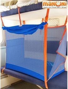 ЖД-манеж в поезд для детей Manuni от 0 до 3 лет василек (4 стенки + шторка)
