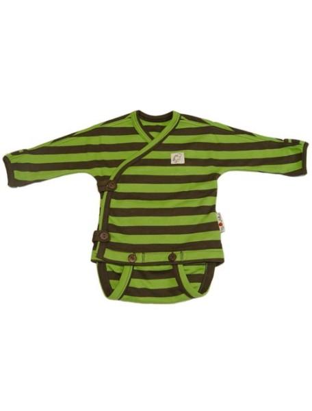 """Боди с запахом (Кимоно) Babyidea """"ManyMonths"""", 0-4 мес., 72 / Зеленый полосы"""
