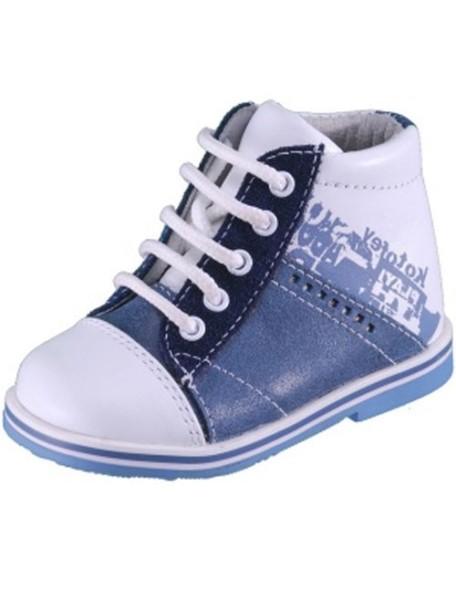 Детские ботиночки Котофей, 19, белый-синий (21)