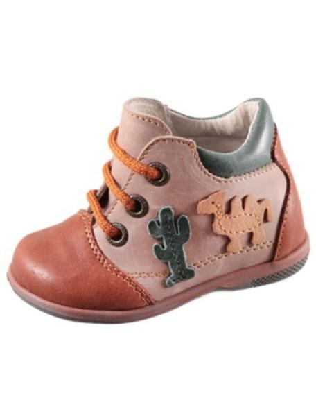 Детские ботиночки Котофей, 19, коричневый-бежевый (21)