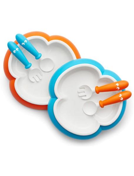 Комплект тарелок с 2-мя ложками и вилками BabyBjorn, 82 / Оранжевый - Бирюзовый