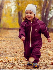 Детский утепленный непромокаемый мембранный комбинезон Хиппичик (весна-лето-осень) бургунди с флисом 1,5-2 года