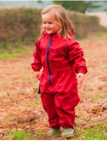 Детский утепленный непромокаемый мембранный комбинезон Хиппичик (весна-лето-осень) красный с флисом