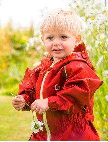 Детский непромокаемый УТЕПЛЕННЫЙ мембранный комбинезон Хиппичик (весна-лето-осень) РУБИНОВЫЙ с флисом