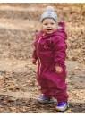 Детский утепленный непромокаемый УТЕПЛЕННЫЙ мембранный комбинезон Хиппичик (весна-лето-осень) ВИШНЕВЫЙ  с флисом