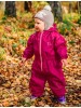 Детский непромокаемый УТЕПЛЕННЫЙ мембранный комбинезон Хиппичик (весна-лето-осень) ВИШНЕВЫЙ  с флисом