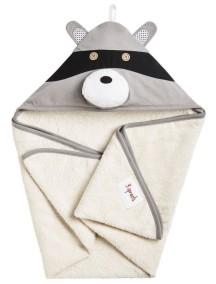 Полотенце с капюшоном детское 3 Sprouts «Серый енот »
