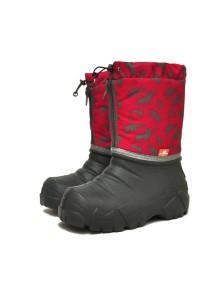 Сноубутсы с мехом Nordman Avis cапоги комбинированные из ЭВА серо-красные с рисунком