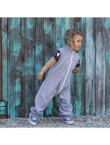 Комбинезон из футера без рукавов детский, Серый меланж (БАМБИНИЗОН / Bambinizon)