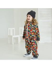 Комбинезон из футера детский с отстегивающимся капюшоном, Граффити (БАМБИНИЗОН / Bambinizon)