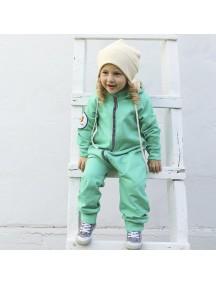 Комбинезон из футера детский с отстегивающимся капюшоном, Листья мяты (БАМБИНИЗОН / Bambinizon)