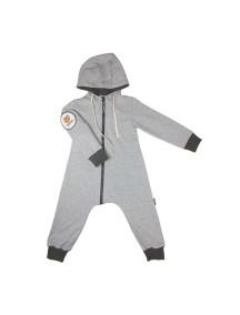 Комбинезон из футера детский с вшивным капюшоном, Серый меланж (БАМБИНИЗОН / Bambinizon)