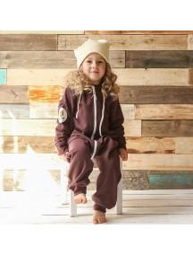 Комбинезон из футера детский на молнии с вшивным капюшоном, Шоколадная помадка (БАМБИНИЗОН / Bambinizon)