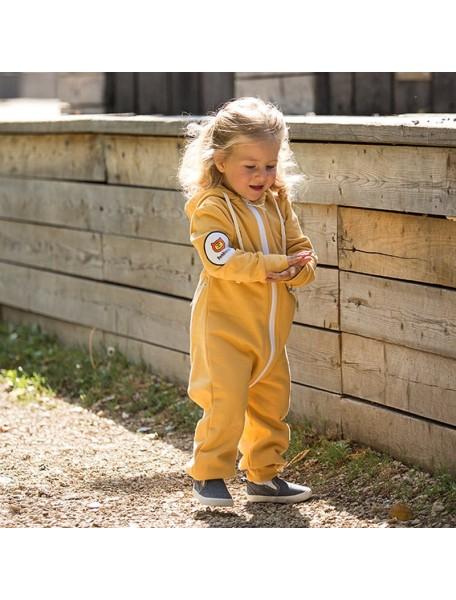 Комбинезон из футера на молнии детский с вшивным капюшоном, Горчичный (БАМБИНИЗОН / Bambinizon)