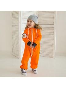 Комбинезон из футера на молнии детский с вшитым капюшоном, Оранж (БАМБИНИЗОН / Bambinizon)