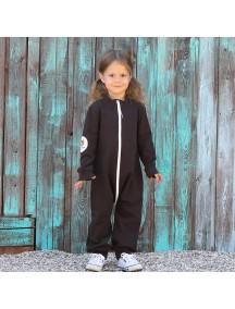 Комбинезон из футера на молнии детский без капюшона, Черный кофе (БАМБИНИЗОН / Bambinizon)